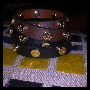 Tory Burch Logo Double Wrap Leather Bracelets